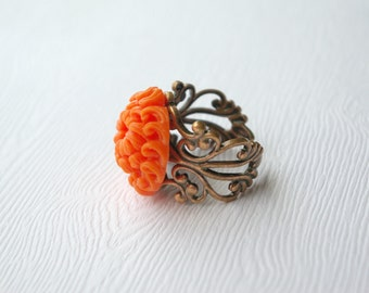 Grande Orange Chrysanthemum Ring