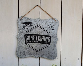 Gone Fishing Metal Man Cave Sign