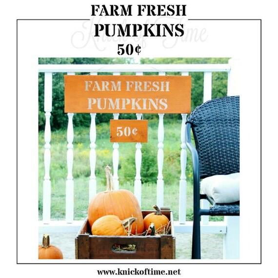 Fresh Pumpkins Farmhouse Stencil Diy Home Decor Signs Etsy