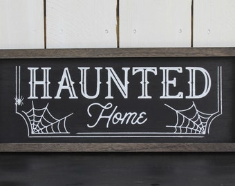 Halloween Haunted Home Box Frame Sign Wall Art, Framed Wood Sign, Chalk Couture
