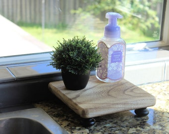 Soap Stand, Rustic Wood Riser Kitchen Tray, Sink Decor