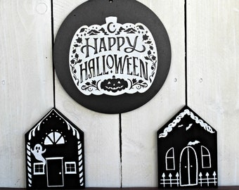 Halloween Decor, Wood Haunted House, Happy Halloween Sign, Chalk Couture