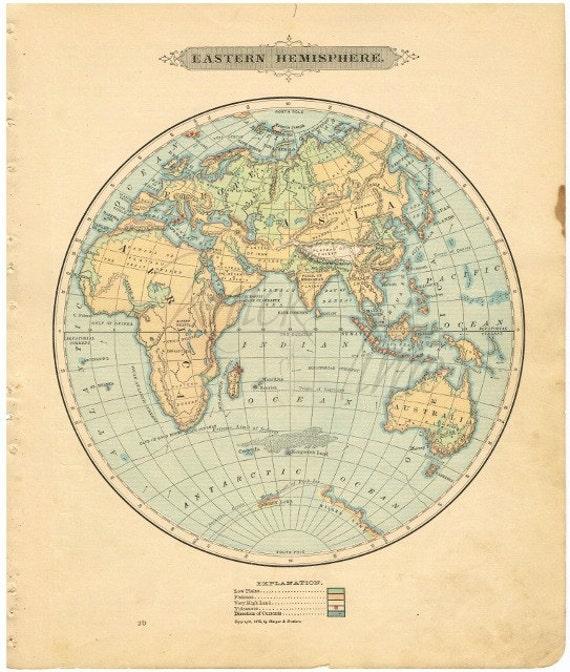 Antique World Map 1885 Eastern Hemisphere Digital Download Etsy
