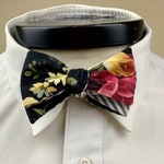 The Marceline- Our vitnage inspired bowtie in floral and stripe pattern