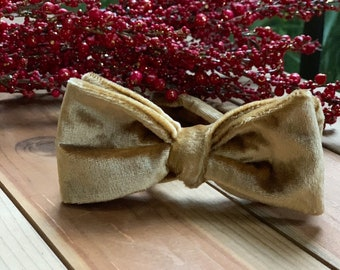 The George- Our velvet bowtie in gold
