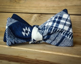 The Borland- Our flannel bowtie in navy and white