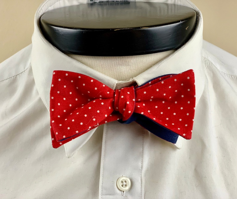 The Marceline Our vintage inspired bowtie in red and white image 0