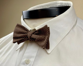 The Marceline- Our vintage inspired bowtie in brown and white pindot