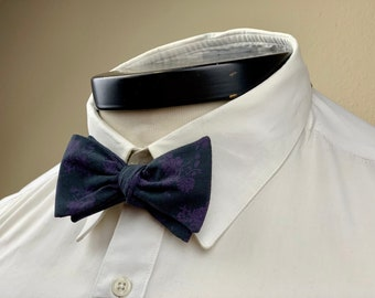 The Marceline- Our vintage inspired bowtie in black and purple floral