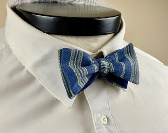 The Marceline- Our vintage inspired bow tie in blue and yellow stripe