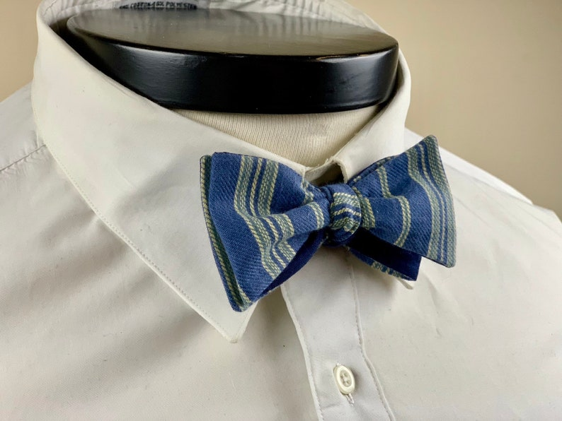 The Marceline Our vintage inspired bow tie in blue and yellow image 0