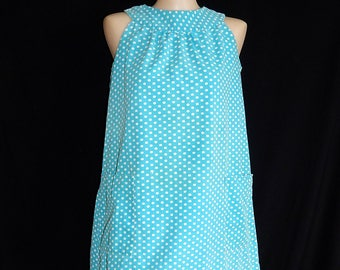 Adorable vintage 60's turquoise blue white polka dots mod go go A line mini dress babydoll lolita - M