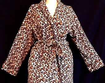 6f2f0dfb41 Meow plus size - Vintage leopard print warm maxi robe with belt bombshell  atomic pin up cream black brown - L   XL  1X