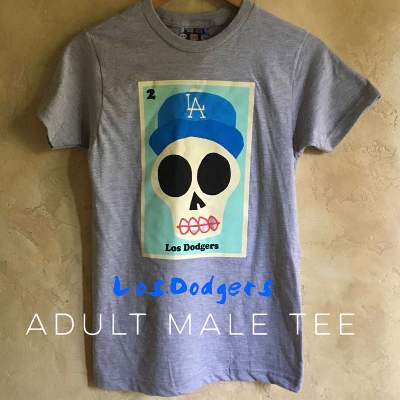 fdf10178e29 Adult Los Dodgers Gray Sugar Skull Tee