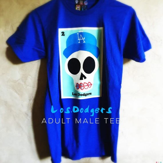 ac05c6f7d29 Adult Los Dodgers Royal Blue Sugar Skull Tee s