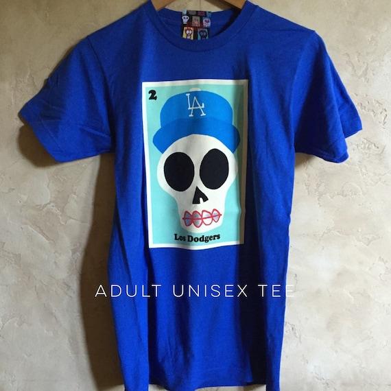Adult 2x /& 3x Los Dodgers  Unisex Royal Blue Sugar Skull Tee