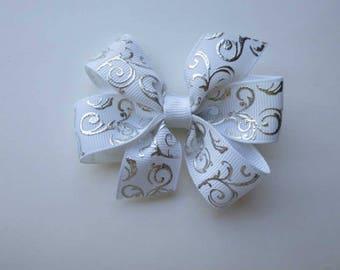 "White and Silver Pinwheel Bow - Toddler Bow - Girls Hair Bow,  3"" Pinwheel Bow"