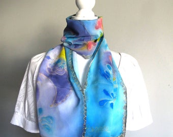 """One-of-a-kind hand painted silk scarf, 100% crêpe de Chine silk, 11"""" X 60"""", French artist, made in California"""