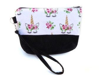 Unicorn Fancy Wristlet / Vegan Bag / Vegan Leather Clutch / Small Purse / Cell Phone Purse