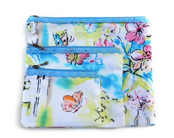 Floral Butterfly Zipper Pouch Set / Green, Pink, Blue Butterfly Design / 3 Piece Set / Cosmetic Bag Set