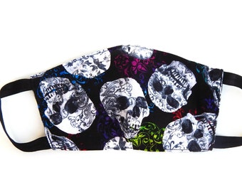 Rainbow Skulls Face Mask with Filter Pocket / Filter Sold Separately / Reusable / Washable / Made in the USA
