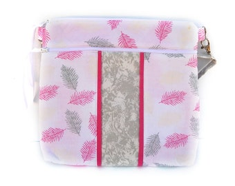 Pink Feathers Crossbody Bag / Pink, Grey, & White Feathers on a Pink Background / Adjustable Strap