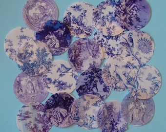 20 Vintage Blue Toile Edible Image Wafer Papers for your iced cookies, fondant, cupcakes, cakes or chocolates