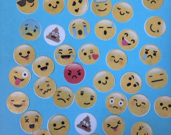 "4 DOZ 1"" EMOJI edible image wafer papers for your iced cookies, cupcakes, cakes and chocolates"