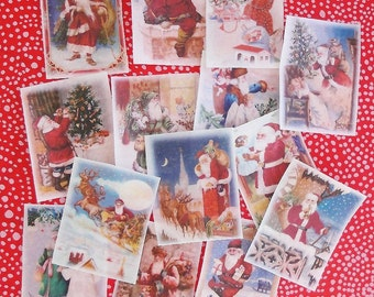 Edible Image Colorful Christmas Wafer Papers Santa  Claus- ONE DOZEN