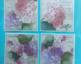 4 Large Shabby Chic Hydrangea edible image wafer papers for your iced cake, cookies, desserts.