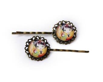 """2 girl hair clips, baroque """"Gift"""" orange clip, girl birthday gift"""