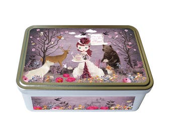 "Metal box ""The tea time in the magic forest"", box storage kitchen tea, cookies, women gift"