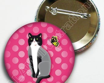 """Round badge deco """"cat"""" pink polka dots, friendship, passion cats brooch, limited edition gift"""