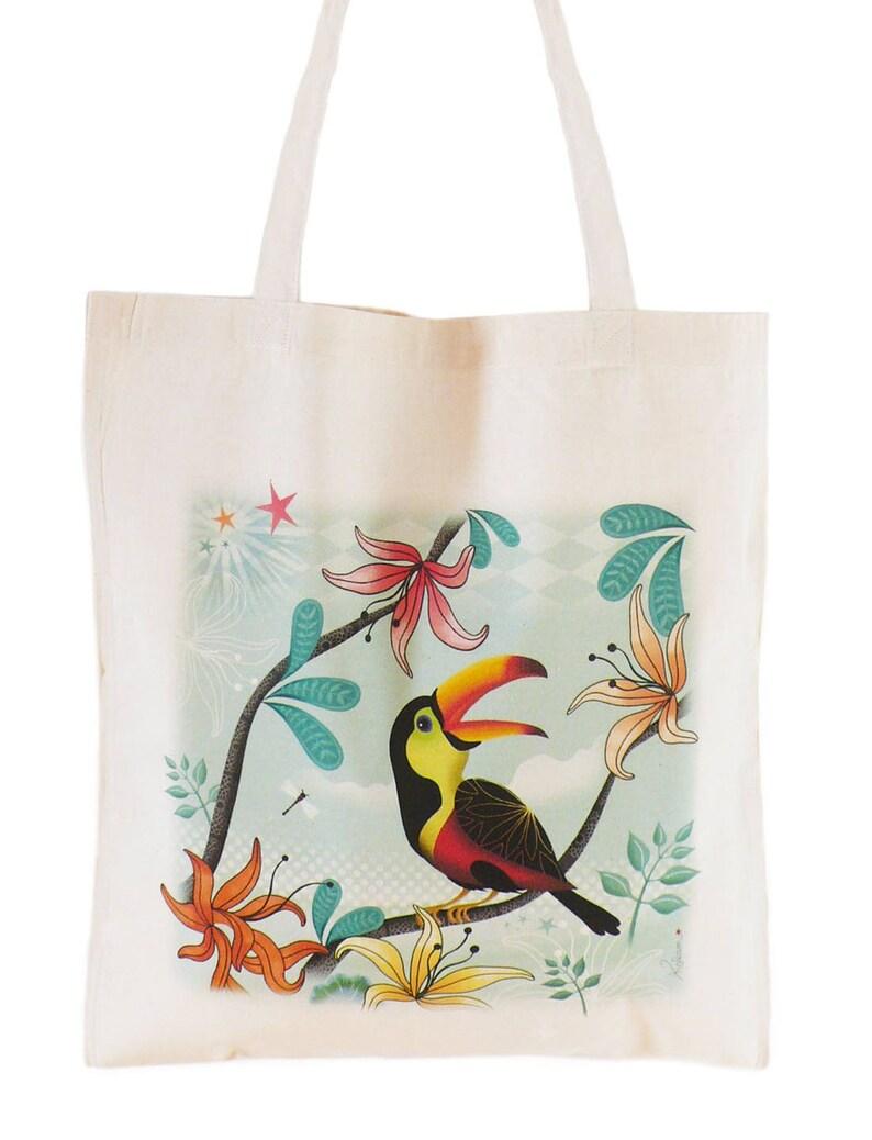 b7f0f3e99d Sac tote bag coton Bio oiseau Toucan vert | Etsy