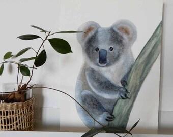 Original watercolor drawing for Koala wall decoration