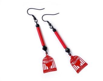 """Strange bird"" dangle earrings red and black bird cage charm"