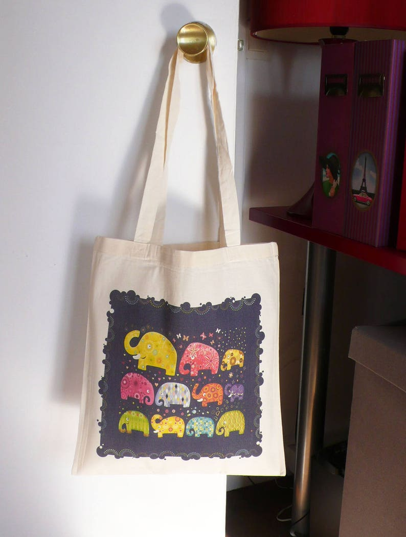 Organic cotton tote bag elephants blue gift girl woman multicolor tote bag made in France teen