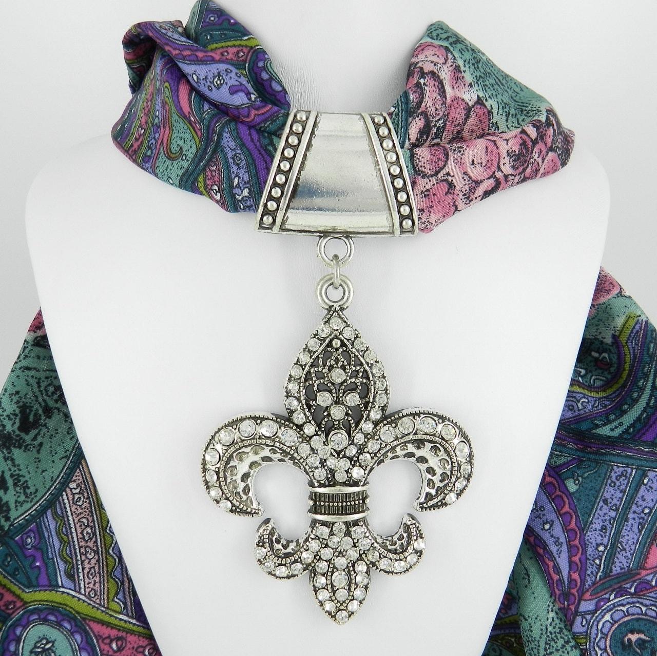 Fleur-de-Lis,Scarf,Slide,with,Crystal,Rhinestones,Jewelry,scarf_charm,scarf_accessory,scarf_pendant,scarf_jewelry,scarf_slide,scarf_bling,fleur_de_lis,Saints,Art_Nouveau,crystal_fleur_de_lis,rhinestone_pendant,large fleur de lis pendant,antique silver alloy bail