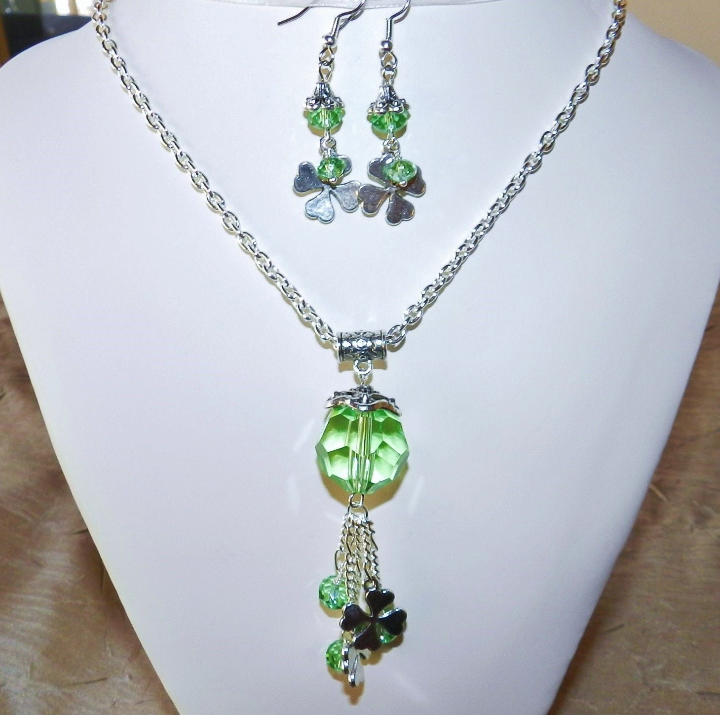 Shamrock,Necklace,and,Earrings,Jewelry,Green_necklace,green_crystal,St_Patrick's_day,Saint_Patrick's_Day,Tassel_necklace,shamrock_charms,shamrock_necklace,shamrock_jewelry,Irish_jewelry,Lucky_Clover,St_Paddys_day,4_leaf_clover,Glass