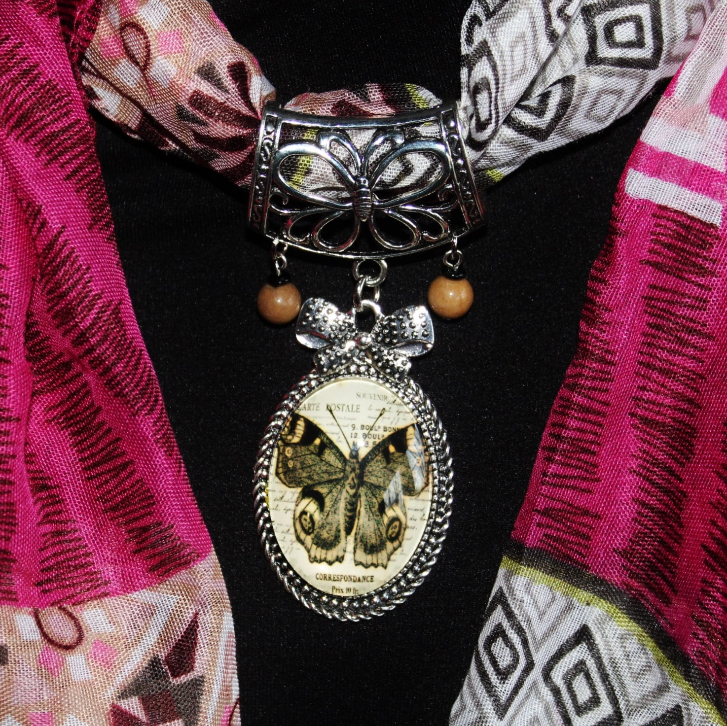 Butterfly Scarf Pendant, Scarf Slide, Antique Style - product images  of