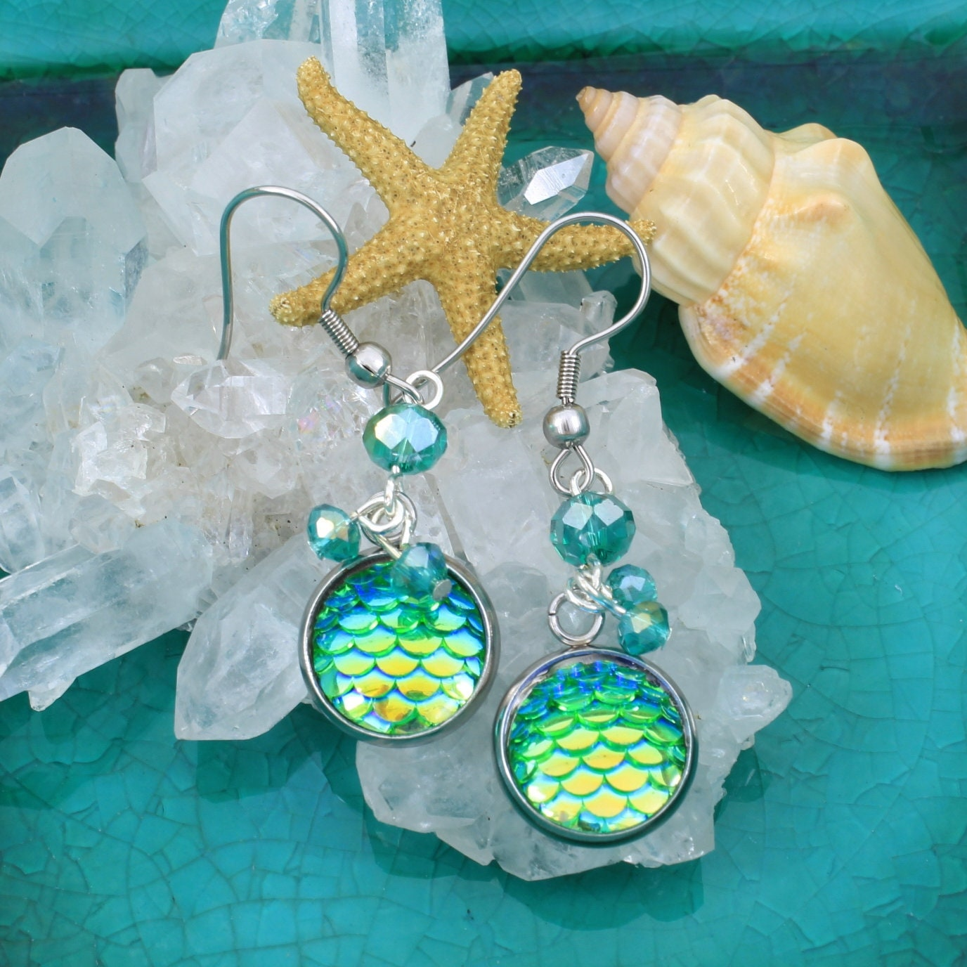 Mermaid,earrings,,Fish,scale,earrings,Jewelry,Earrings,mermaid_earrings,dragonscale_earrings,mermaid_jewelry,fantasy_jewelry,green_earrings,blue_earrings,little_girl_earrings,cosplay_earrings,one_of_a_kind,handmade_jewelry,ocean_theme,Arial_jewelry,Stainless steel