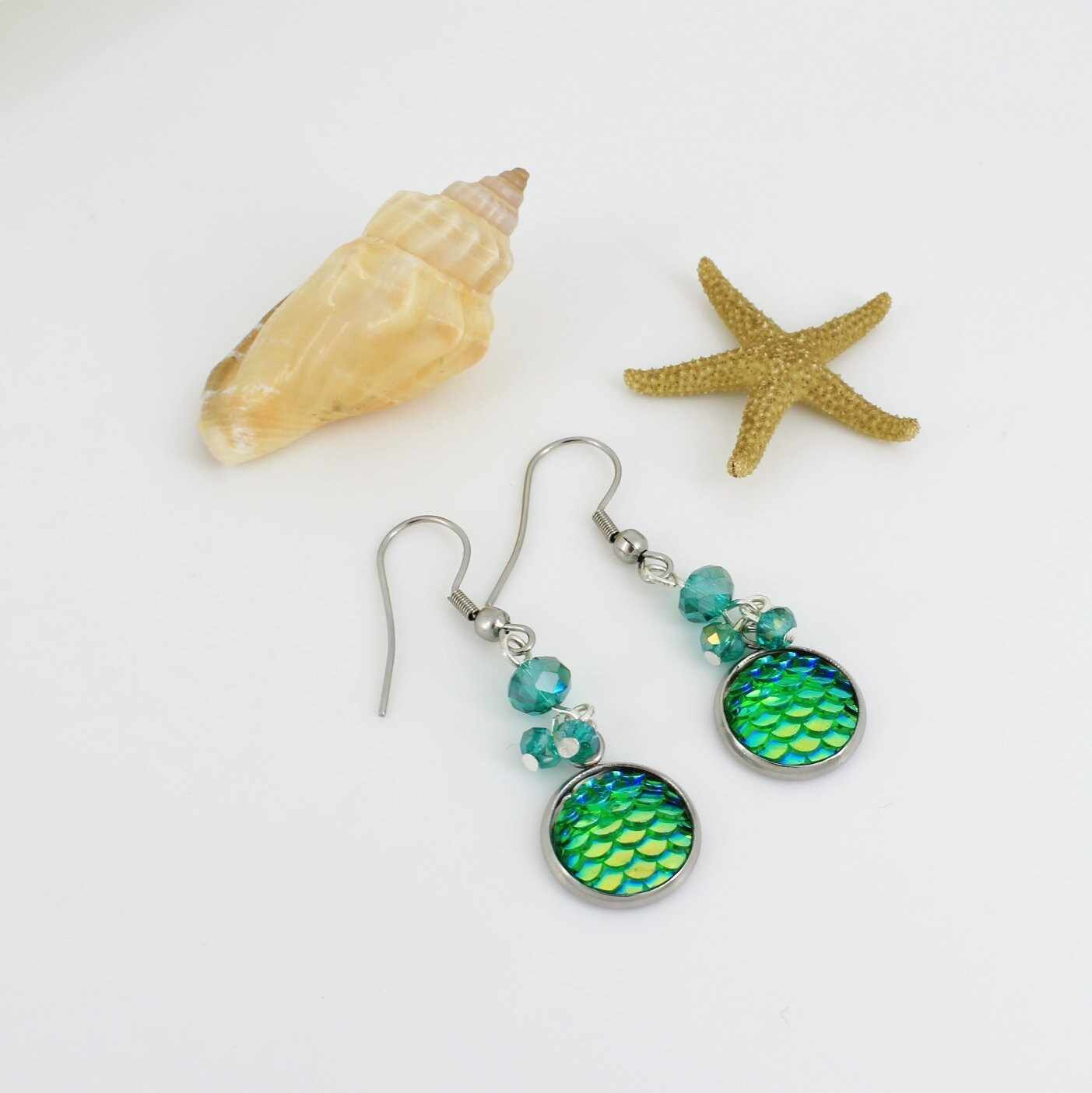 Mermaid earrings, Fish scale earrings - product images  of
