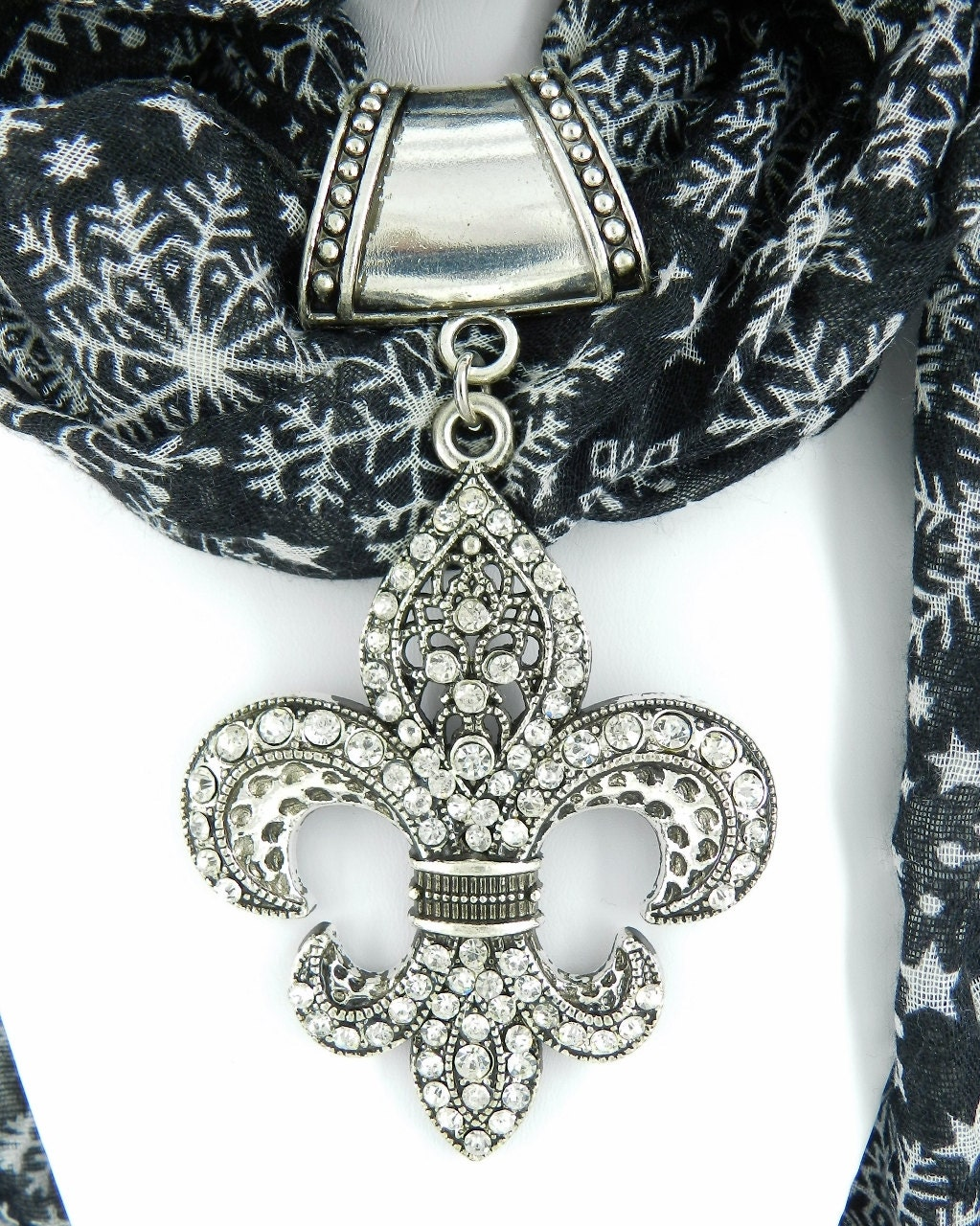 Fleur,de,Lis,Scarf,Jewelry,~,Crystal,Rhinestone,Pendant,Accessory~,Charm,Slide,scarf_charm,scarf_accessory,scarf_pendant,scarf_jewelry,scarf_slide,scarf_bling,fleur_de_lis,Fleur-de-Lis,Saints,Art_Nouveau,crystal_fleur_de_lis,rhinestone_pendant,large fleur de lis pendant,antique silver alloy bail