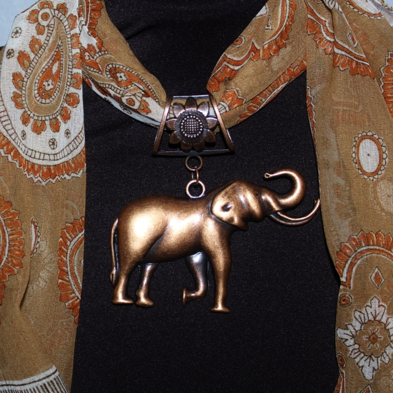 Large Metal Elephant Pendant, Scarf Jewelry, Antique Copper ~ Scarf Accessory~ Scarf Charm - product images  of