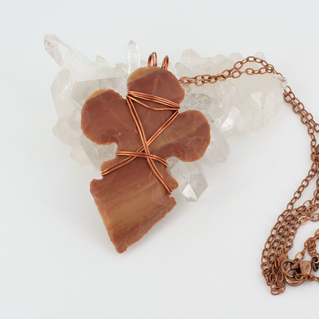 Unique,Arrowhead,Necklace,with,Copper,Jewelry,knapped_jasper,primitive_style,unisex_necklace,arrowhead_necklace,mens_necklace,wired_arrowhead,copper_wire_wrapped,Native_American,wirewrapped,locally_sourced,one_of_a_kind,Rusty_brown,fleur_de_lis,Brass,Stone