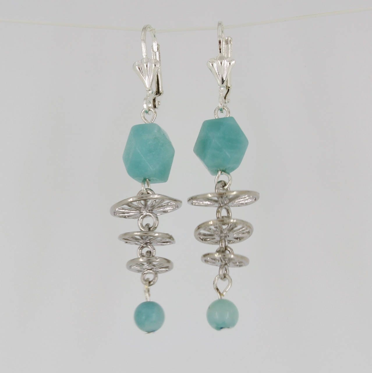 Baby,Blue,Amazonite,Earrings,Jewelry,dangle_earrings,gift_for_her,Amazonite_earrings,silver_leverbacks,unusual_jewelry,blue-green,aqua_blue,one_of_a_kind,newest_trends,sophisticated,classy_earrings,leverback earwires,amazonite beads,silver connectors