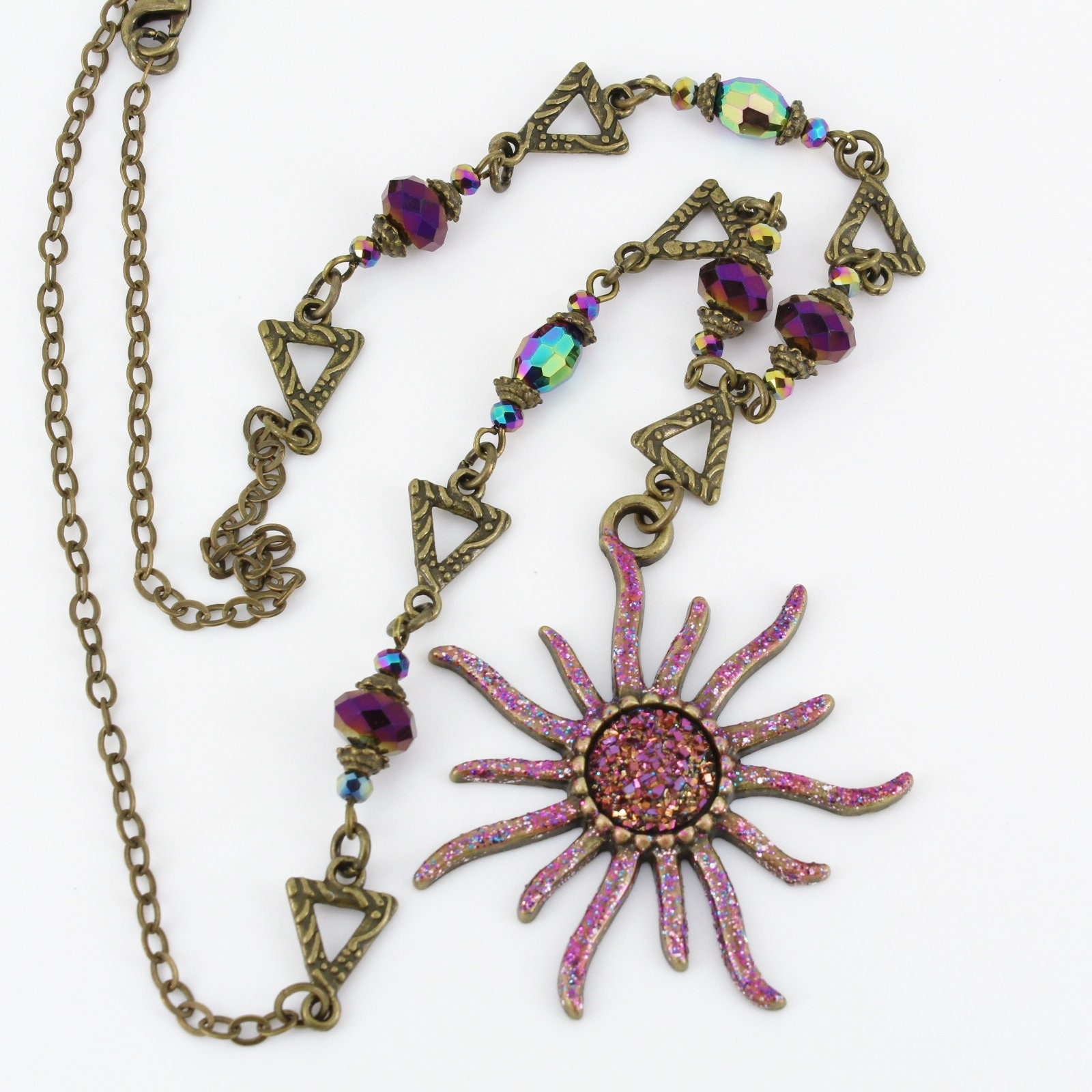 Sunburst,Necklace,Jewelry,sunburst,sparkly,geometric,space,sun,one_of_a_kind,purple,rainbow,iridescent,antique_brass,bronze,Brass,crystals,glitter polish and sealer,safe metal alloys