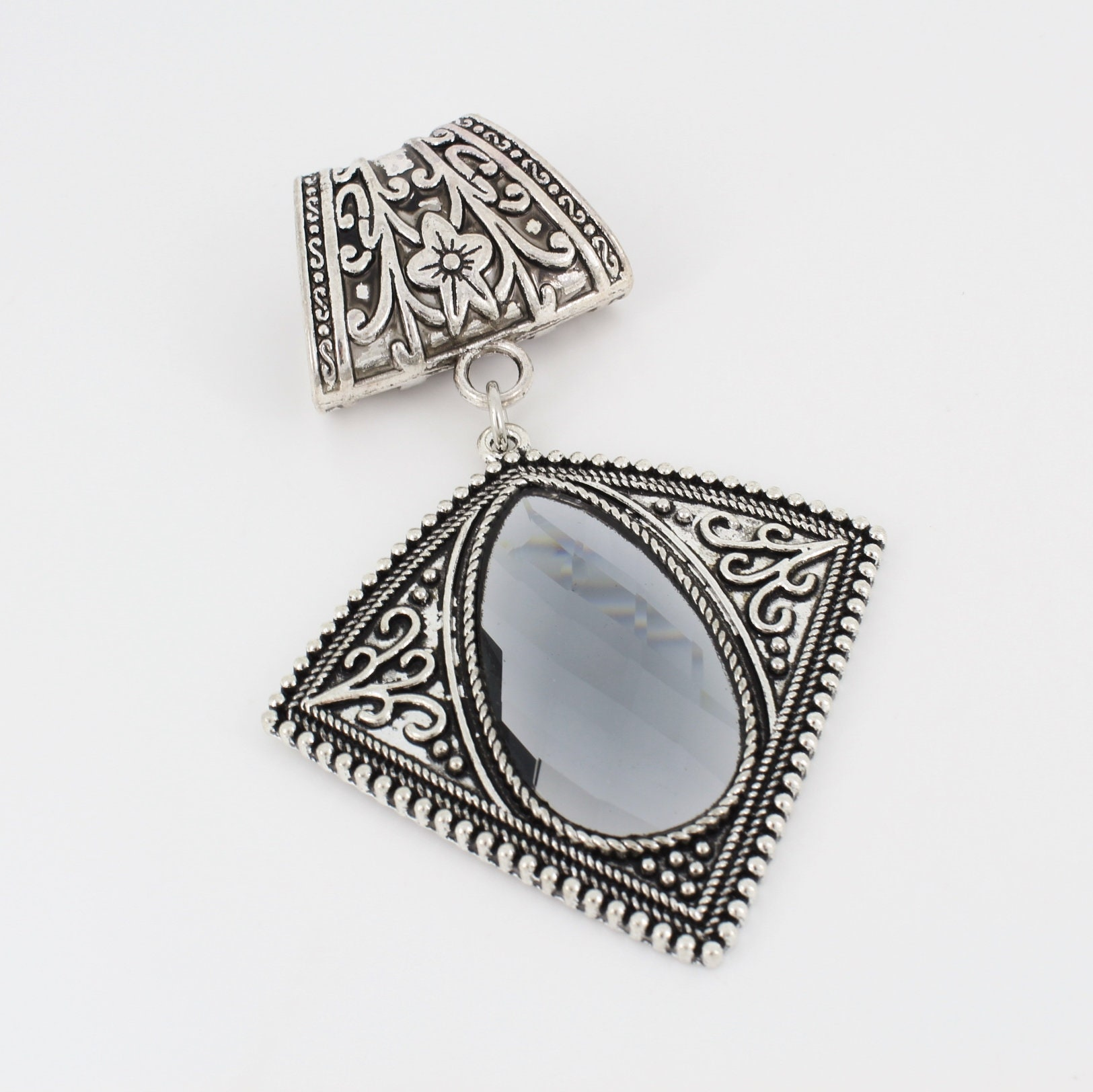 Art Nouveau Style Scarf Slide, Faceted Mirrored Glass set in Antique Silver - product images  of