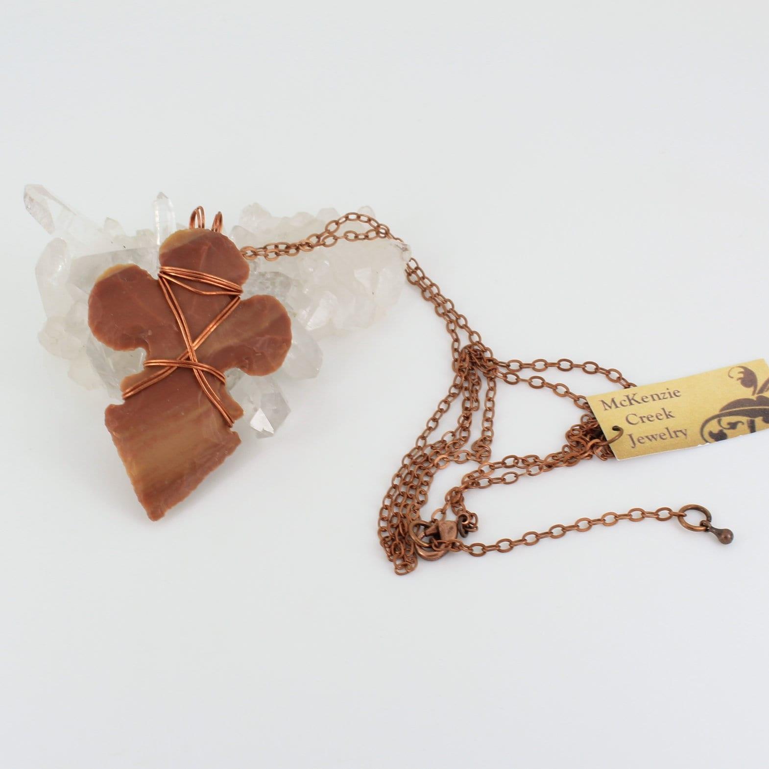 Fleur-de-Lis Arrowhead Necklace with Copper Wirewrap - product images  of