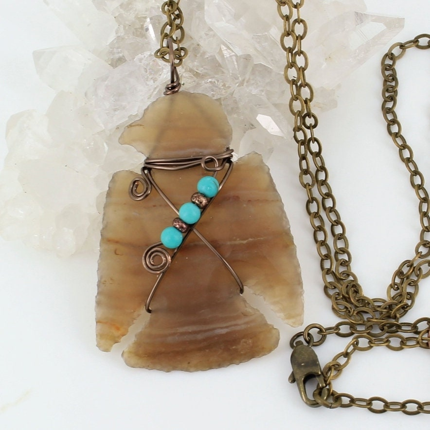 Deluxe,Knapped,Eagle,Wire,Wrapped,Stone,Necklace,with,Turquoise,Accents,Jewelry,knapped_jasper,unisex_necklace,wired_arrowhead,copper_wire_wrapped,Native_American,wirewrapped,locally_sourced,one_of_a_kind,knapped_eagle,Eagle_necklace,knapped_stone,wrapped_eagle,Brown_Eagle,Brass